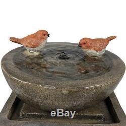 Sunnydaze Birdbath Basin on Pedestal Outdoor Garden Water Fountain 29 Inch Tall