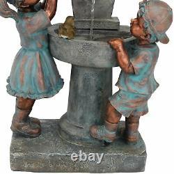 Sunnydaze Boy & Girl at Birdbath Outdoor Water Fountain 30 Backyard Feature