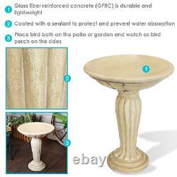Sunnydaze Grecian Garden Reinforced Concrete Outdoor Bird Bath 20-Inch White