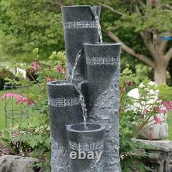 Sunnydaze Outdoor Water Fountain 4-Tier Staggered Pillars LED Lights Large