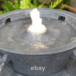 Sunnydaze Tranquil Streams 2-Tier Outdoor Bird Bath Water Fountain