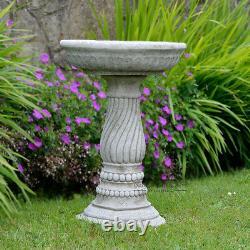 TWIST BIRD BATH FEEDER Hand Cast Stone Garden Ornament / Statue onefold-uk