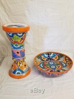 Talavera 22 x 16 Birdbath Bird BATH Handmade Mexican Ceramic Garden Pottery