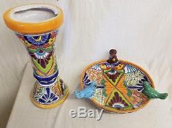 Talavera 24 x 18 Birdbath Bird BATH Handmade Mexican Ceramic Garden Pottery