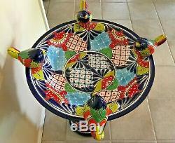 Talavera Mexican Pottery Bird Bath Large 27 Pedestal Ceramic Birdbath Garden