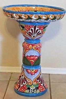 Talavera Mexican Pottery Bird Bath Pedestal Ceramic Birdbath Garden
