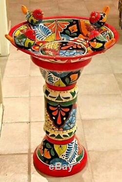 Talavera Mexican Pottery Bird Bath X Large 27 Pedestal Ceramic Birdbath Garden