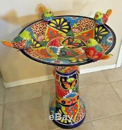 Talavera Mexican Pottery Large 27x19 Bird Bath Pedestal Ceramic Birdbath Garden
