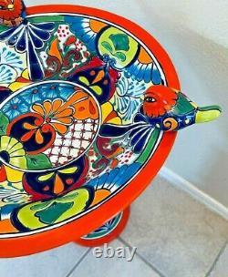 Talavera Mexican Pottery Large Bird Bath 23 Pedestal Ceramic Birdbath Garden