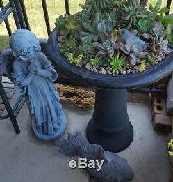 Tall Large Antique Birdbath Bird Bath Outdoor Fountain Pedestal Garden Yard Bowl