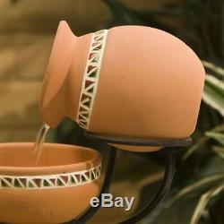 Terracotta 5 Tier Cascading Bowls Solar Water Fountain Outdoor Garden Bird Bath