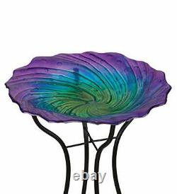 Textured Glass Bird Bath with Stand Open Face Decorative Feeder Garden Display