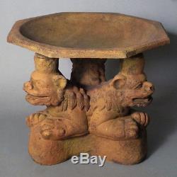 Three Foo Dogs Bird Bath Garden Statue Sculpture Handcrafted USA 18W 18D 20H