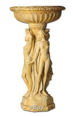 Three Muse Garden Bird Bath Statue by Orlandi Statuary Made of Fiberstone FS7070