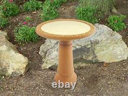 Tierra Garden 4-1763T Semi-Gloss Bird Bath Bowl with Brown Matte Rim, Ivory