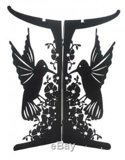 Tierra Garden 4-1813 Hummingbird Lasercut Metal Birdbath Bowl Base with Black