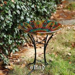 Topadorn Bird Bath Bowl Garden Décor Glass Plate Birdbath with Metal
