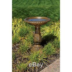 Torrie Outdoor Garden Yard Pedestal Freestanding Bird Bath Faux Stone Finish