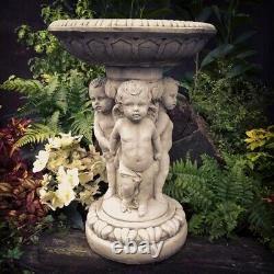 Tre Putti Cherub Birdbath Statue Reconstituted Stone Concrete Garden Ornament