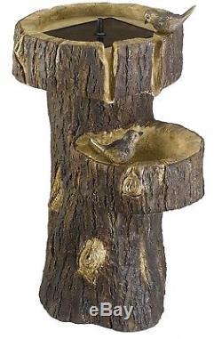 Tree Trunk Recycle Water Feature Solar Powered Pump System Garden Birdbath Decor
