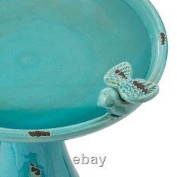Turquoise Antique Ceramic Birdbath Bird Bath Outdoor Garden Rustic Water Bowl
