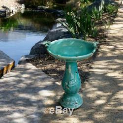 Turquoise ceramic pedestal birdbath with 2 bird figurines antique garden water