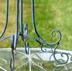 Two Birds Iron Birdbath with Frosted Blue Finish Yard, Deck, Patio, Garden