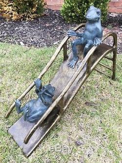 Two Happy Frogs Sliding On Playground Slide Statue Alumunium Garden Large 25L