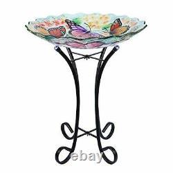 VCUTEKA Glass Bird Bath Outdoor with Metal Stand for Lawn Yard Garden Decor B