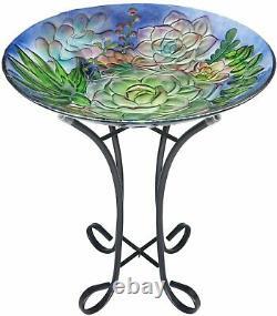 VCUTEKA Glass Birdbath Metal Stand for Lawn Yard Garden Decoration plant