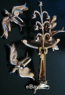 VINTAGE BIRDBATH w FOUNTAIN, BIRDS FIGURAL PIN BROOCH SET EARRINGS SPRING GARDEN
