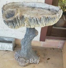 VINTAGE FAUX BOIS BIRD BATH Texas Master Artist Purported Maximo Cortes Nice