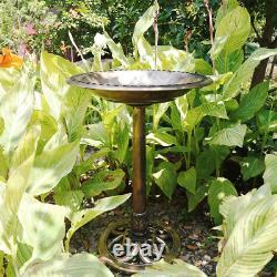 VIVOHOME Polyresin Antique Outdoor Copper Garden Bird Bath and Solar Powered Set