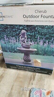 Victorian Cherub Angel Statue Bird Bath Outdoor Garden Fountain New in Box