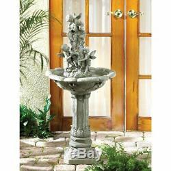 Victorian Cherub angel Shabby Statue bird bath Outdoor Garden patio 42 Fountain