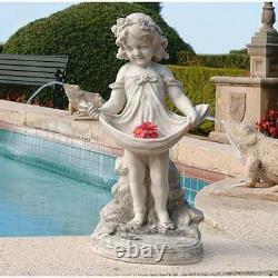 Victorian Girl Garden Sculpture Statue Bird Bath Yard Decor Angelic Child Figure