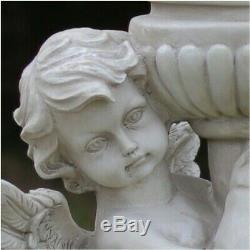 Victorian Style 17 Tall Resin Cherub Statue With Bird Bath, Feeder Or Planter