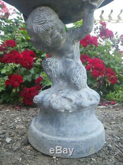 Victorian Zinc SATYR BOY BIRD BATH Planter Feeder Faun Garden Statue