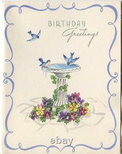 Vintage 1940's Blue Birds Water Bird Bath Ivy Garden Pansy Flower Card Art Print