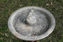 Vintage Aluminum Bird Bath Feeder Cardinal Mid Century Metal Patina Garden Art