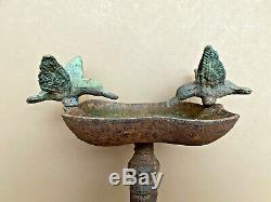 Vintage Antique 13 Cast Iron Bird Bath Garden Decor Ornament Feeder Victorian