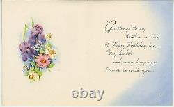 Vintage Blue Birds Bath Potted Garden Flowers Plants Brother In Law Card Print