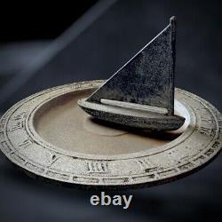 Vintage Cast Iron Sundial Bird Bath Sailboat 23-7 The Mariners Nautical Decor