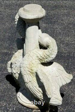 Vintage Cast Stone Concrete Bird Bath Base Pair Of Swans 24 Tall