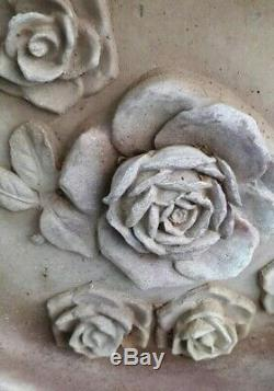 Vintage Cement Concrete Birdbath 3D Roses Excellent Condition Solid HEAVY