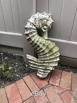 Vintage Cement/concrete Seahorse Garden Birdbath Ornament/ Topper 22