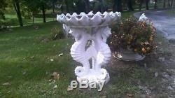 Vintage Concrete three Seahorse Birdbath
