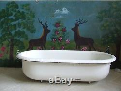 Vintage Enamel Baby Bath Bidet White Enamelware Garden Planter Bird Bath