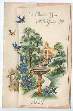 Vintage Garden Blue Birds Bath Putti Fountain Winding Path House Greeting Card