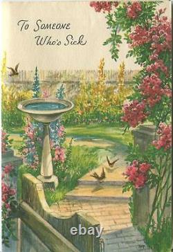 Vintage Garden Climbing Roses Bird Bath Topiary Scripture Greeting Card Print